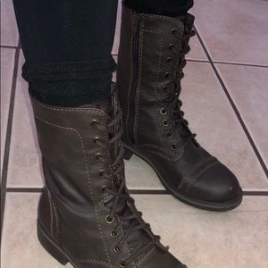 Brown boots women's lace up//Ankle boot